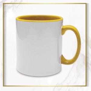 لیوان دسته داخل زرد